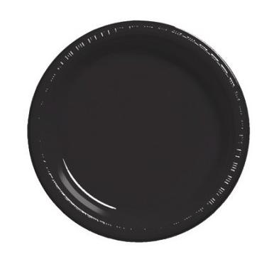 Black Round Plain Plates – 25PK