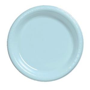Light Blue Medium Plain Plates – 25 PK
