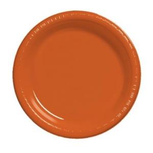 Orange Round Plain Plates – 25PK