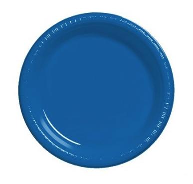 Royal Blue Round Plain Plates – 25PK