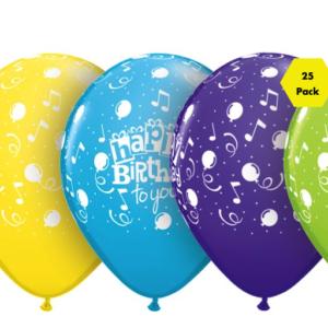 Happy Birthday Balloons – Assorted – 25 Pk