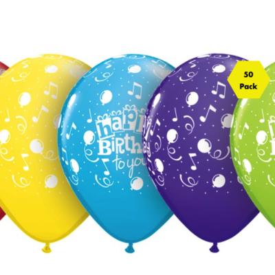 Happy Birthday Balloons – Assorted – 50 Pk