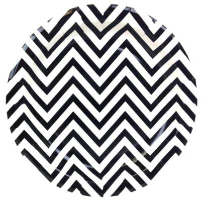 Black Chevron Round Plates – 12PK