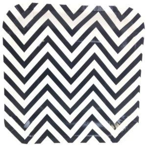 Black Chevron Square Plates – 12PK