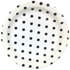 Black Polka Dot Round Plates – 12PK