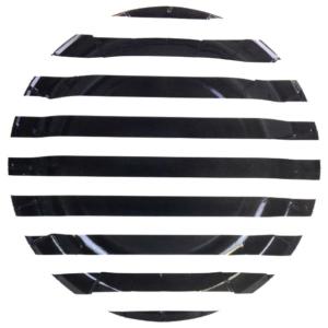 Black Stripes Round Plates – 12PK