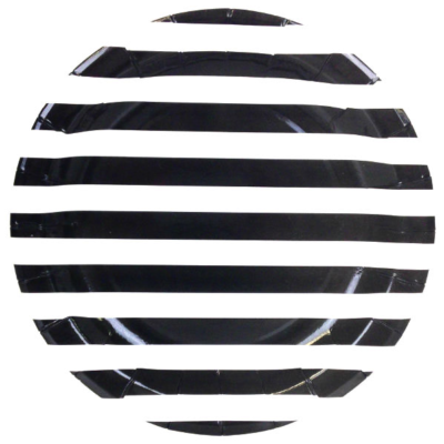 Black Stripes Round Plates – 12PK