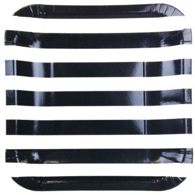 Black Stripes Square Plates – 12PK