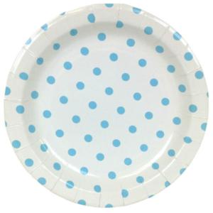 Blue Polka Dot Round Plates – 12PK