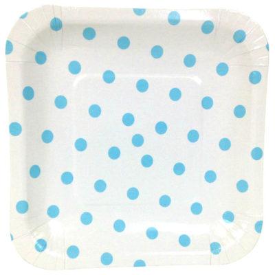 Blue Polka Dot Square Plates – 12PK
