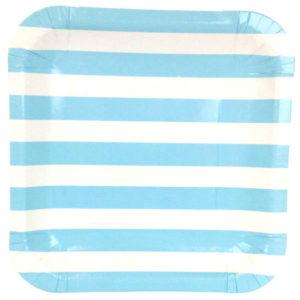 Blue Stripes Square Plates – 12PK