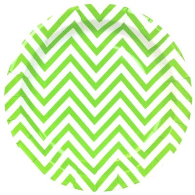 Green Chevron Round Plates