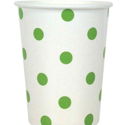Green Polka Dot Cups – 12PK