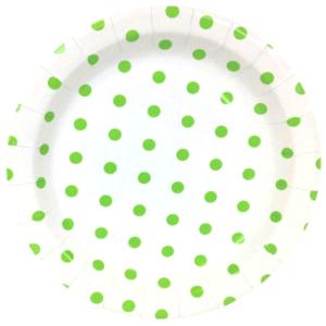Green Polka Dot Round Plates – 12PK
