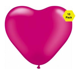 12″ Heart Shaped Balloons – Magenta 10 Pk