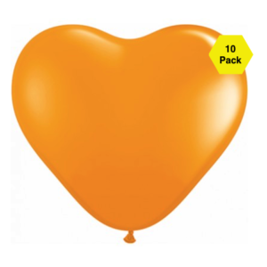 12″ Heart Shaped Balloons – Orange 10 Pk