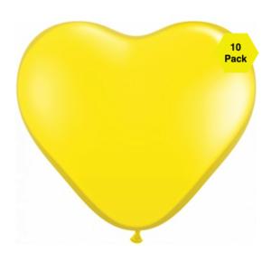 12″ Heart Shaped Balloons – Yellow 10 Pk