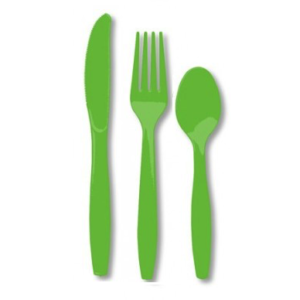 Lime Green plastic Cutlery set