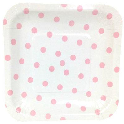 Pink Polka Dot Square Plates – 12PK