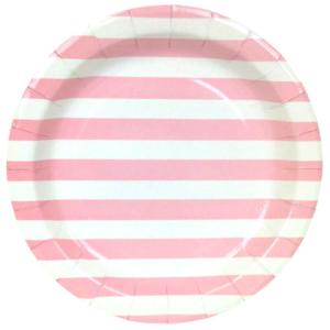 Pink Stripes Round Plates – 12PK