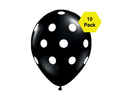 Polka Latex Balloons – Black 10 Pk
