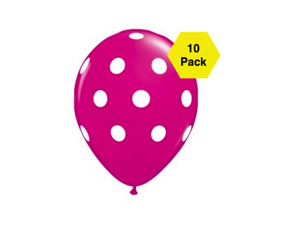 Polka Latex Balloons – Fuschia 10 Pk