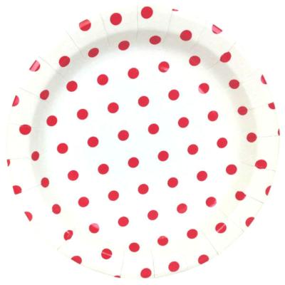 Red Polka Dot Round Plates – 12PK