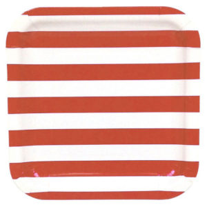 Red Stripes Square Plates – 12PK