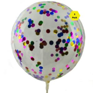 28 CM Rainbow Confetti Balloons – 5pk