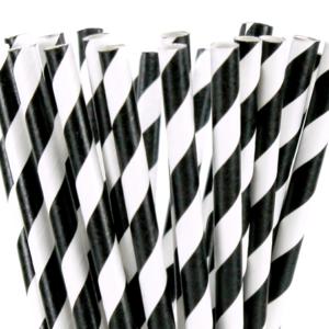 Stripe paper Straws – Black 25 Pk