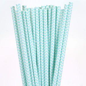 Chevron Paper Straws – Blue 25 Pk