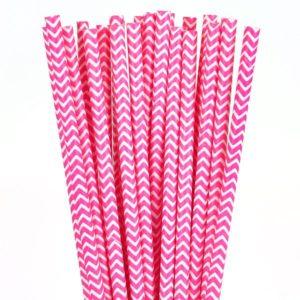 Chevron Paper Straws – Pink 25 Pk