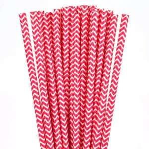 Chevron Paper Straws – Red 25 Pk