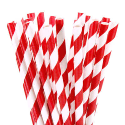 Stripe paper Straws – Red 25 Pk