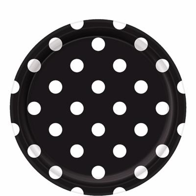 White Polka Dot, Black Round Plates – 12PK