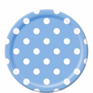 White Polka Dot, Blue Round Plates – 12PK