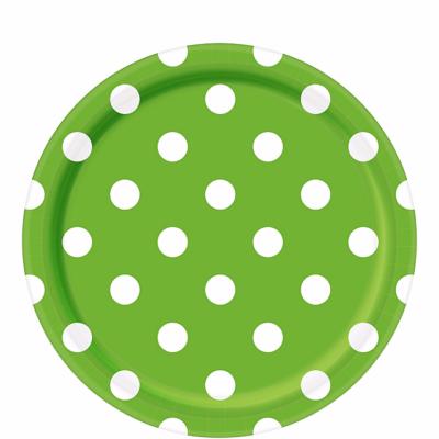 White Polka Dot, Green Round Plates – 12PK