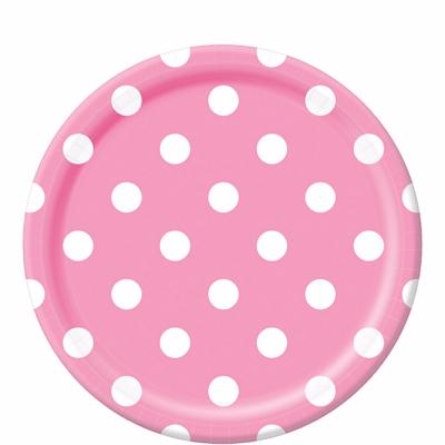 White Polka Dot, Pink Round Plates – 12PK