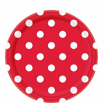 White Polka Dot, Red Round Plates – 12PK