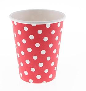 White Polka Dot, Red cups – 12PK