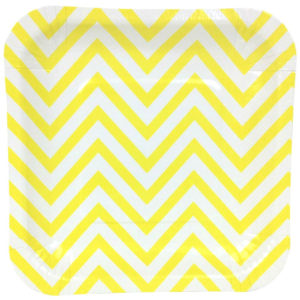 Yellow Chevron Square Plates – 12PK