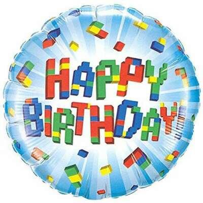 Blocks Happy Birthday Foil Balloons