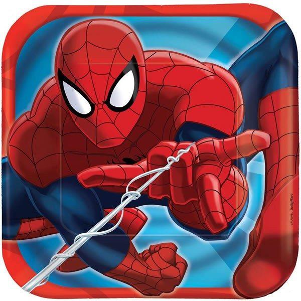 Spiderman Square Luncheon Plates