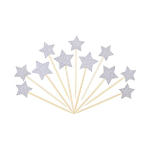 Star Cupcake Toppers – Silver 10PK
