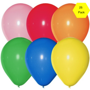12″ Plain Balloons – Assorted 25 Pk