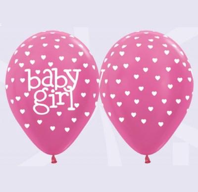 Baby Girl Balloons- Pearl FUCHSIA 10 Pk