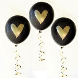 Heart printed Latex Balloons – Black (3Pk)
