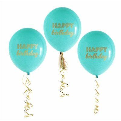 Happy Birthday, printed Latex Balloons – Blue (3Pk)