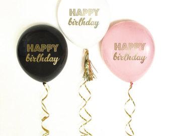 Happy Birthday, printed Latex Balloons – White (3Pk)