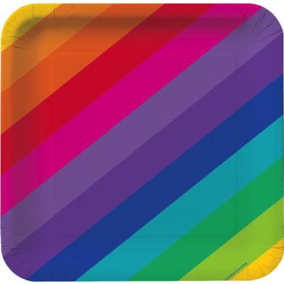 Rainbow Dinner Paper Plates – 8Pk